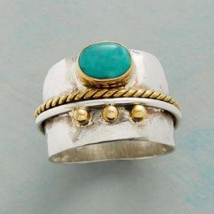 New Bohemia Blue turquoise Stone Gem Gold Ring
